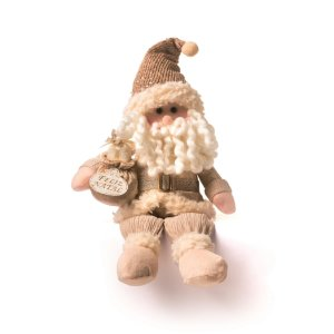 Papai Noel Decorativo Cromus Dourado Atenas Sentado 40cm