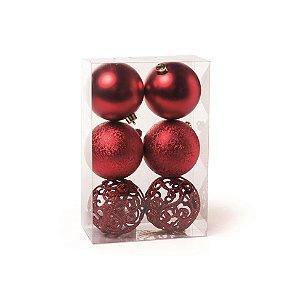 Conjunto de Bolas de Natal Vermelha Cromus 8cm Fosca, Texturizada e Vazada 6 unidades
