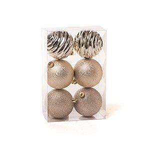 Conjunto de Bolas de Natal Cromus Dourada Nude 8cm Glitter, Texturizada e Ondas 6 unidades