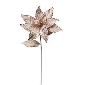Flor de Natal Poinsetia Nude Cabo Longo 64cm Cromus 4 unidades