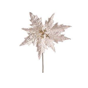 Flor de Natal Poinsetia Branca Cromus Cabo Médio 40cm 6 unidades