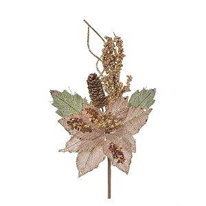 Flor de Natal Natural Rústica com Pinha Cromus Cabo Médio 35cm 4 unidades