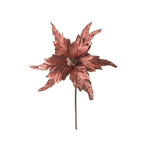 Flor de Natal Poinsetia Rosa Escuro Cromus Cabo Médio 42cm 6 unidades