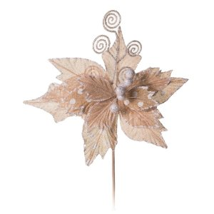 Flor de Natal Poinsetia Juta Marfim Poa com Branco 40cm 4 unidades