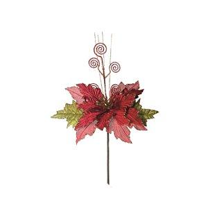 Flor de Natal Poinsetia Cromus Vermelha Cabo Médio 45cm 4 unidades
