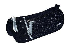 Estojo Escolar TN Bolsas Tecido 2 Compartimentos Estrela Preto
