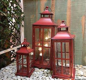 Kit Lanterna Decorativa Vintage Vermelha de Metal 3 Peças