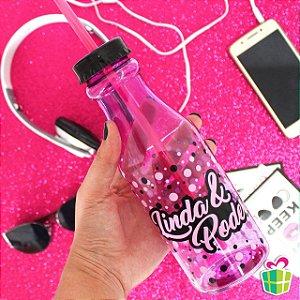Garrafa Coca com Canudo Linda e Poderosa 500ml Brasfoot