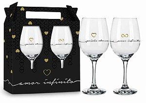Conjunto Taças de Vinho Amor Infinito 2 Unidades
