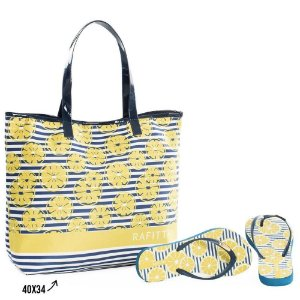 Kit Chinelo com Bolsa Rafitthy Lemon Fresh Marinho
