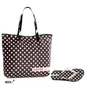 Kit Chinelo com Bolsa Rafitthy Poa Trend Fashion Preto
