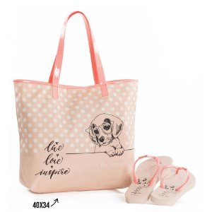 Kit Chinelo com Bolsa Rafitthy Be Forever Dog Live Praia