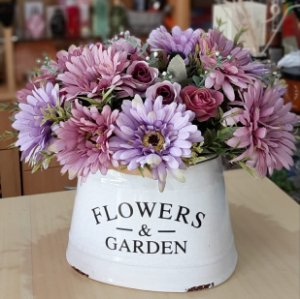 Arranjo de Flores Artificiais Gérberas Rosa e Lilás