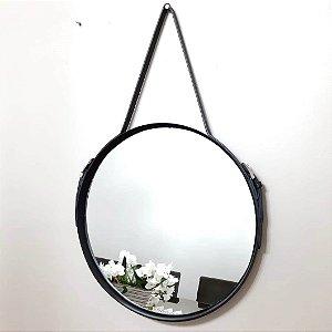 Espelho com Cinto Redondo Preto 38cm