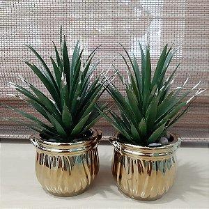 Jogo de Vasos Decorativos para Lavabo Dourado
