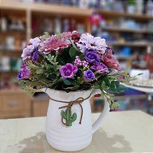 Vaso de Flores Jarro Branco Margaridas Lilás