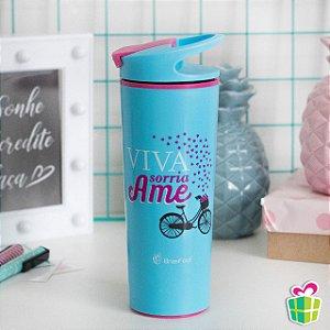 Copo Térmico Anti-Queda com Ventosa Viva, Sorria e Ame 500ml