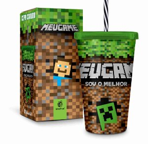 Copo com Canudo Meu Game Sou Melhor Minecraft 500ml