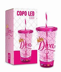 Copo LED com Canudo Diva Acrílico 500ml
