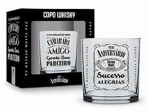 Copo Whisky Feliz Aniversário Amigo Gente Boa 320ml