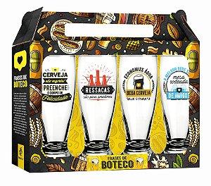 Conjunto de Copos de Cerveja Munich Frases de Boteco 4 Peças