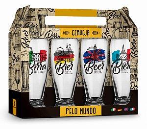 Conjunto de Copos de Cerveja Munich Cervejas pelo Mundo 4 Peças