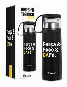 Garrafa Térmica com Caneca Força e Foco e Café 350ml