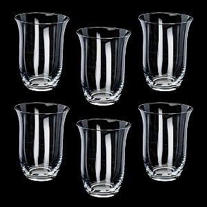 Jogo de Copos para Água Cristal Bohemia Kleopatra/Branta Baixo 350ml 6 peças
