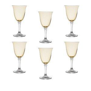 Jogo de Taças Vinho Bohemia Cristal Kleopatra/Branta Âmbar 290ml 6 peças