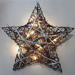 Estrela de Natal Decorativa Aramada com 10 LEDS Natural/Branca 30cm
