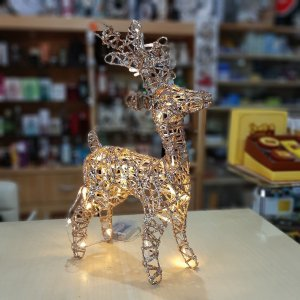 Rena de Natal Aramada com Luz 40 Lâmpadas Dourada com Gliter 40cm