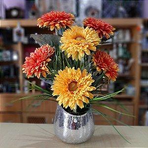 Arranjo de Flores Artificiais Gérberas Amarelas e Laranjas 46cm