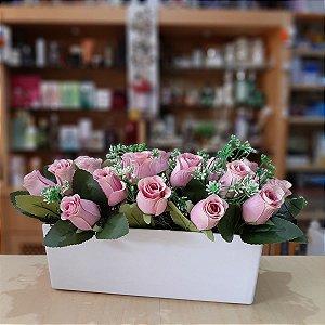 Arranjo de Flores Artificiais Botões de Rosa Cor de Rosa