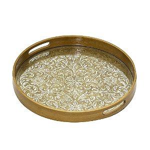 Bandeja Decorativa Redonda Espelhada Dourada Floral 36,5cm