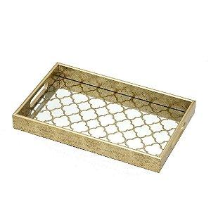 Bandeja Decorativa Espelhada Dourada Retangular 40 cm