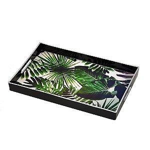 Bandeja Decorativa Preta Folhagens Verdes 45,5 cm