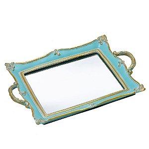 Bandeja Espelhada Azul Tifanny Retrô 36cm