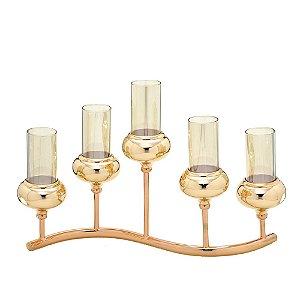 Candelabro Dourado em Metal e Vidro para 5 Velas