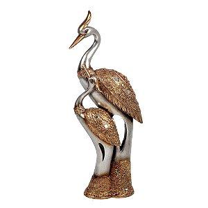 Garças Decorativas Douradas com Glitter 34cm