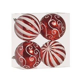 Bola da Natal Vermelha com Branca 10 cm 4 unidades