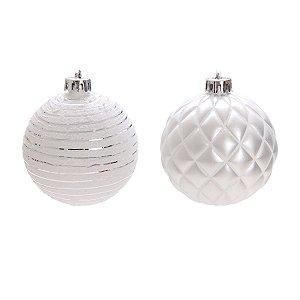 Bola de Natal Prata Losango e Listras Cromus 8 cm 4 unidades
