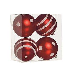 Bola de Natal Vermelha e Branca Cromus Poa e Listras 10 cm 4 unidades