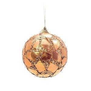 Bola de Natal Cromus Dourada Quadrados com Glitter 8 cm c/6 unidades