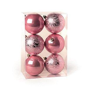 Bola de Natal Cromus Rosa Claro 10 cm Craquelada e Perolada 6 unidades