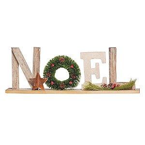 Enfeite para Mesa Noel Madeira Cromus Chalé 50 cm