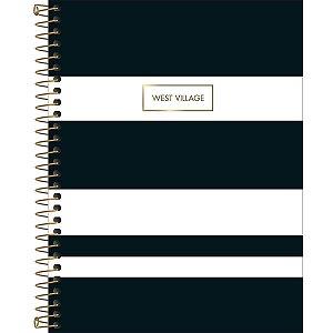 Caderno Colegial Tilibra West Village 2020 Branco Listras Pretas 1 Matéria 80fls