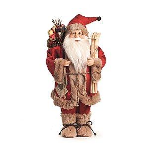 Papai Noel Cromus Com Esqui 47 cm Roupa Vermelha