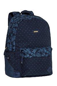 Mochila Feminina Tecido Azul Marinho Flores para Notebook