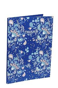 Pasta Catálogo Azul Floral Capa Dura 25fls Plástico Fino