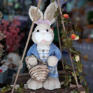 Coelha Decorativa de Palha Crespinho Farmer Azul Claro 45cm